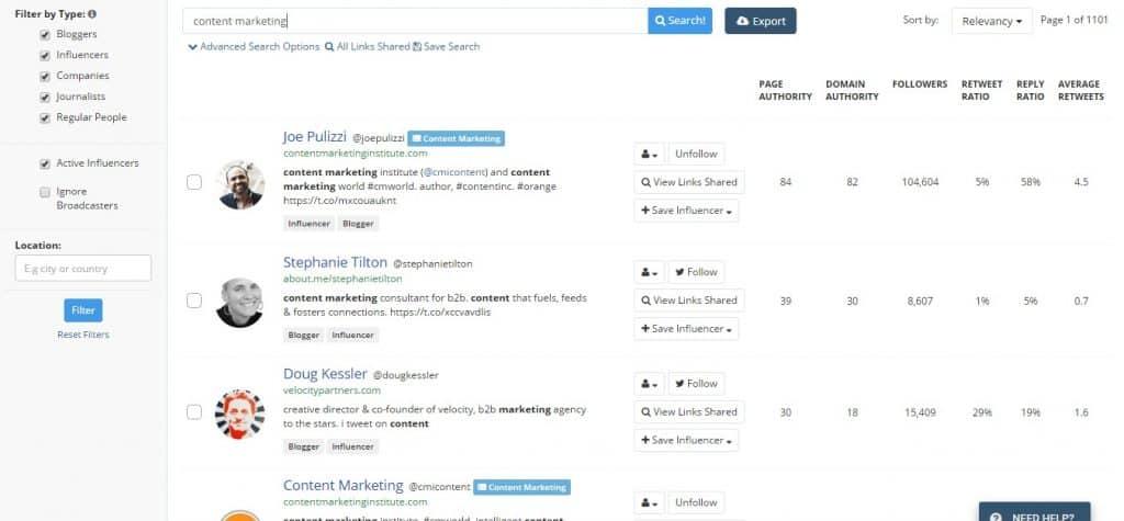 content marketing Twitter Influencers ~ BuzzSumo