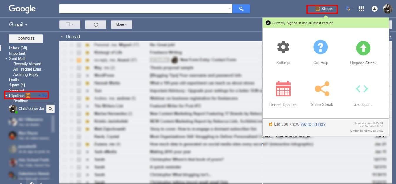 Gmail with Streak