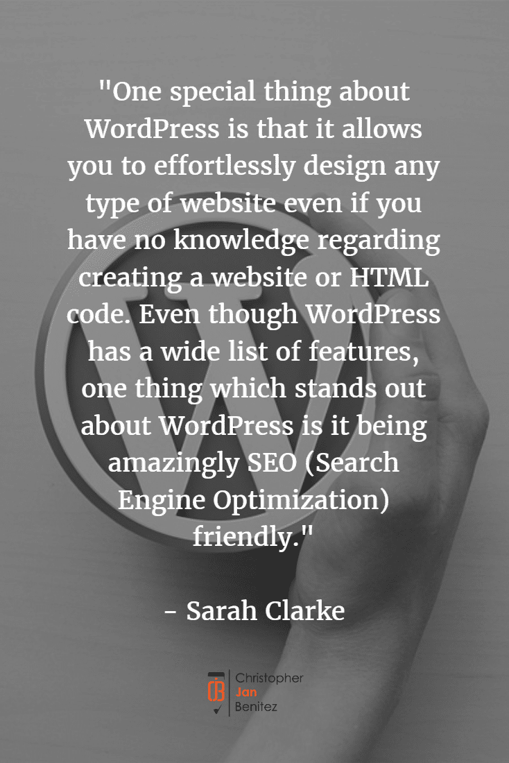 Quote about SEO benefits of wordpress
